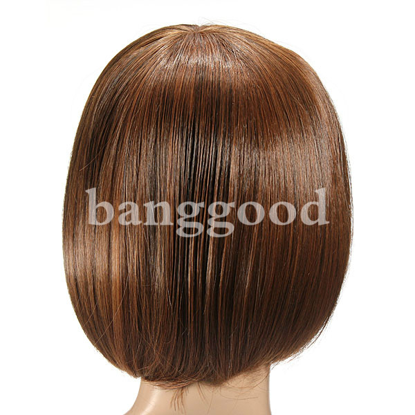 Inclined Short Straight Bob Cosplay Party Full Hair Wigs Cap