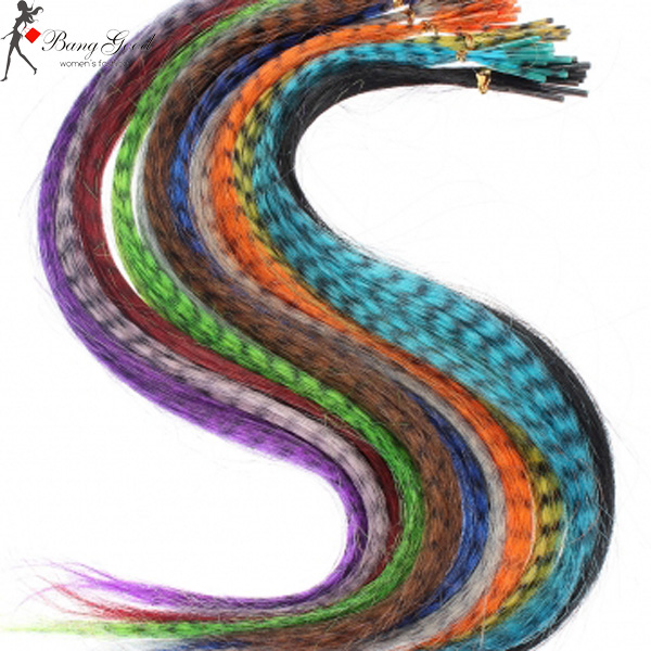 10 Pieces 15 Inch Grizzly Rainbow Synthetic Fiber Hair Extensions