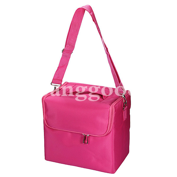 Fabric Portable Makeup Case Box With Shoulder Straps