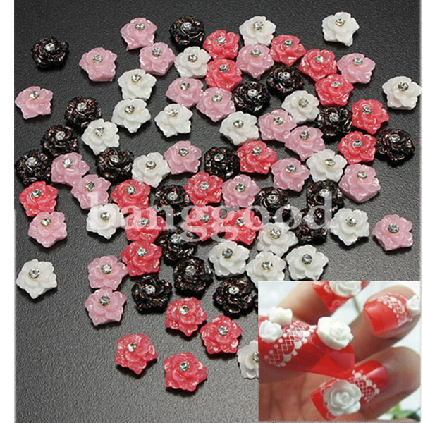 20pcs Nail Art Rose with Rhinestone Tips Sticker Decoration
