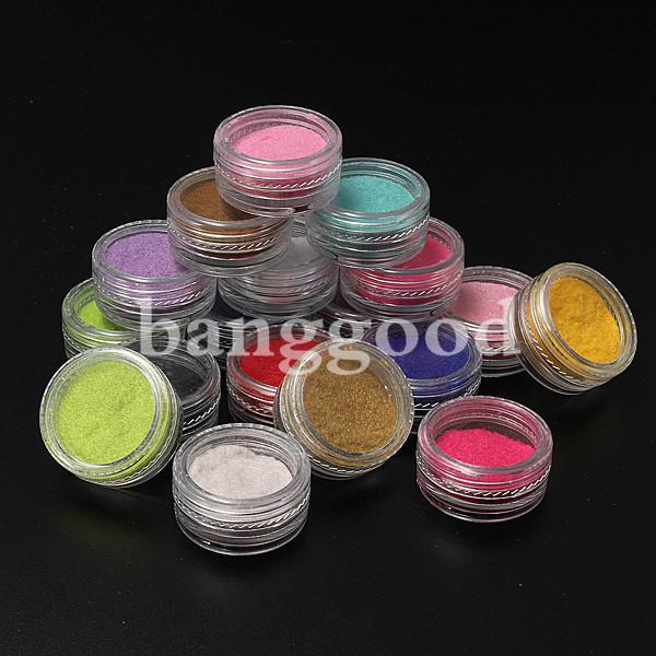 18 X 3D Flocking Powder Velvet Nail Art Polish Decoration