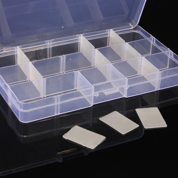 10PCS 15 Cells Compartment Plastic Storage Box Adjustable Detachable for Nail Tip Gems Little Stuff