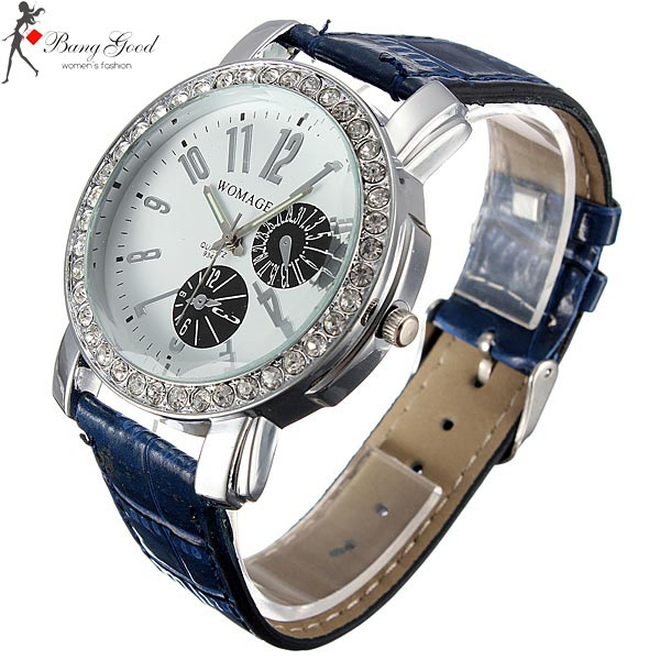 Fashion Crystal Round Dial Luminous Pointer Leather Band Wrist Watch