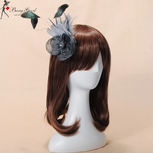 Mesh Fabric Feather Headpiece Fascinator Hair Clip