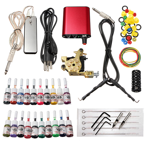 220V Professional Tattoo Machine 20 Colors Ink Power Su