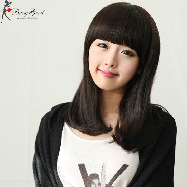 Lower Half Part Curly Neat Bangs Long Wig