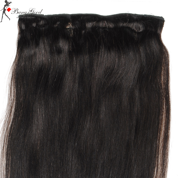 Human Real Hair Extension Clip On Hairpiece