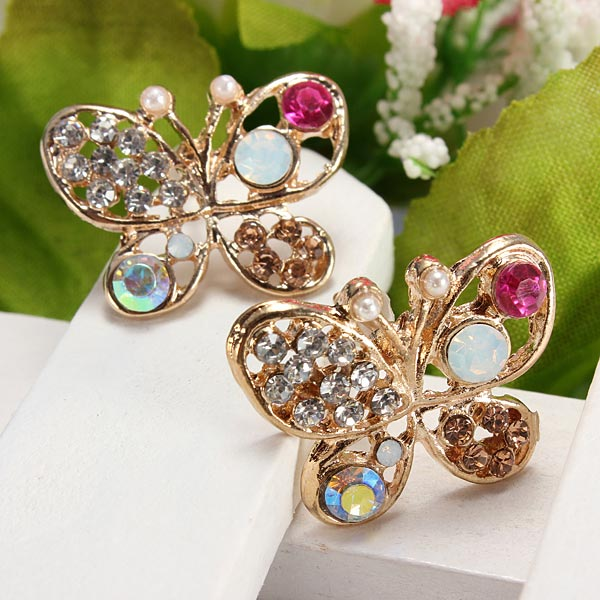 Multicolor Crystal Rhinestone Hollow Out Butterfly Stud Earrings