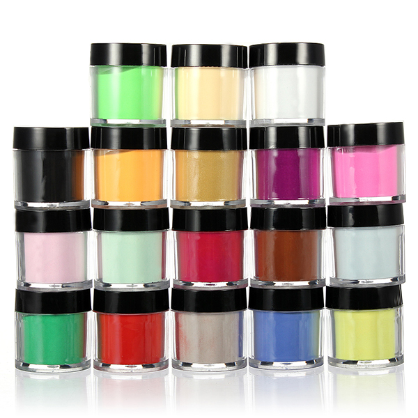 18 Color Acrylic UV Powder Dust Glitter Polish Nail Art Kit Set