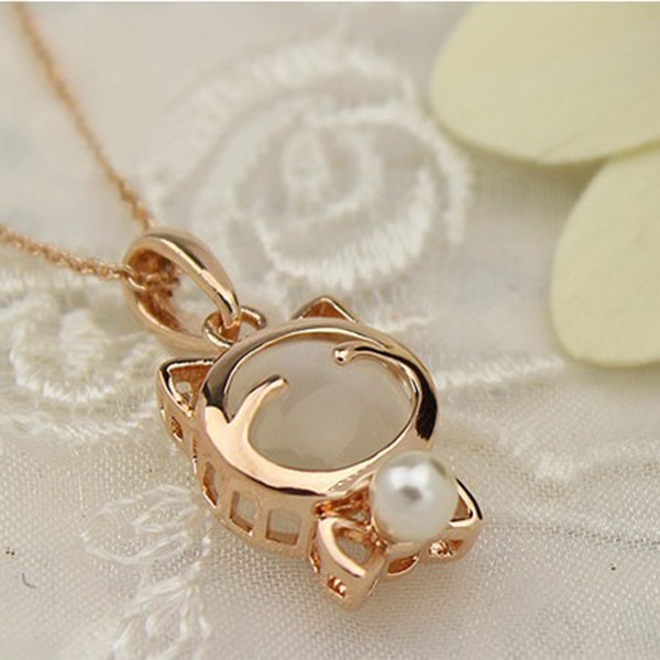Lucky Cute Opal Smeil Cat Bead Clavicle Chain Short Necklace