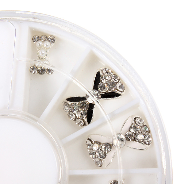 12 Styles Silver Bowknot Rhinestone Metal Nail Art Decoration Wheel