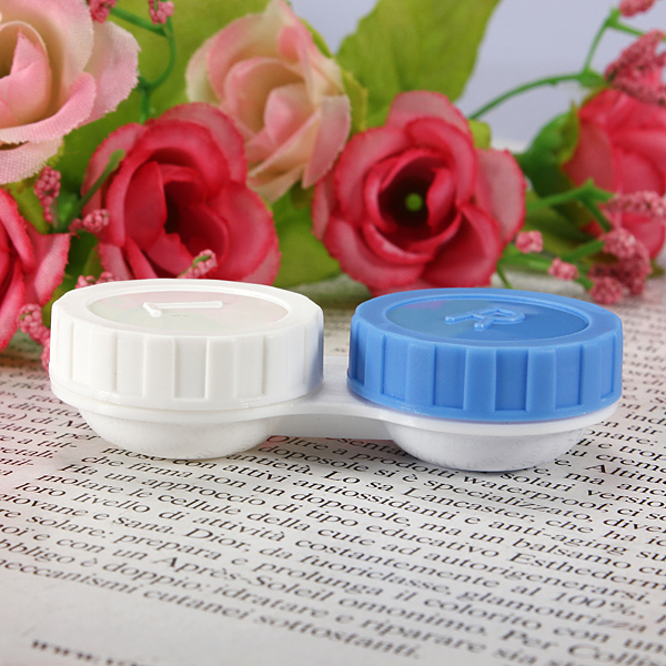 Small Frame Plastic White Blue Contact Lens Storage Soaking Cases