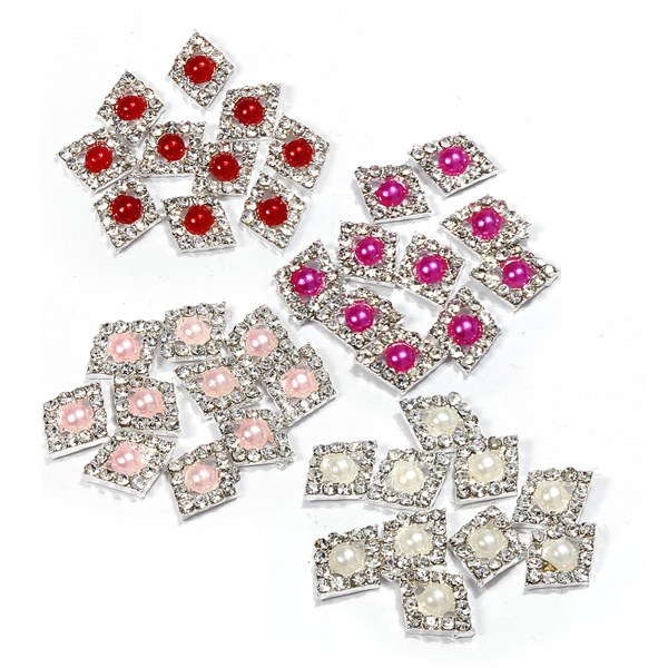 3D Glitter Pearl & Crystal Rhinestone Diamond-Shaped Nail Art Stickers