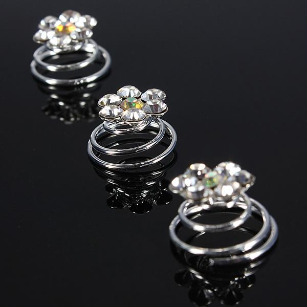 Clear Flower Crystal Diamante Wedding Hair Twists Spiral Coils Pins
