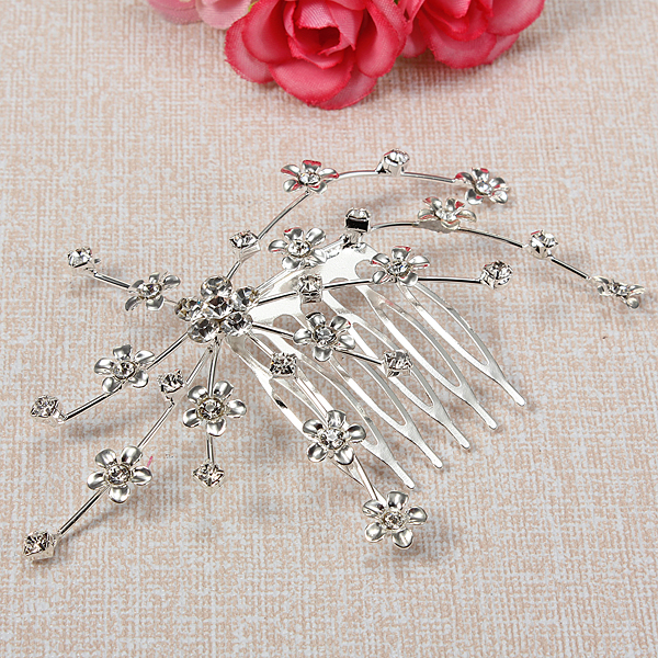 Little Flower Crystal Hair Comb Wedding Party Silver Clear Hair Pin