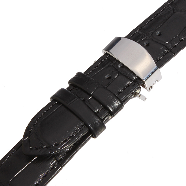 Men Women Leather Watch Strap Band Stainless Fold Buckle Clasp 18-24mm