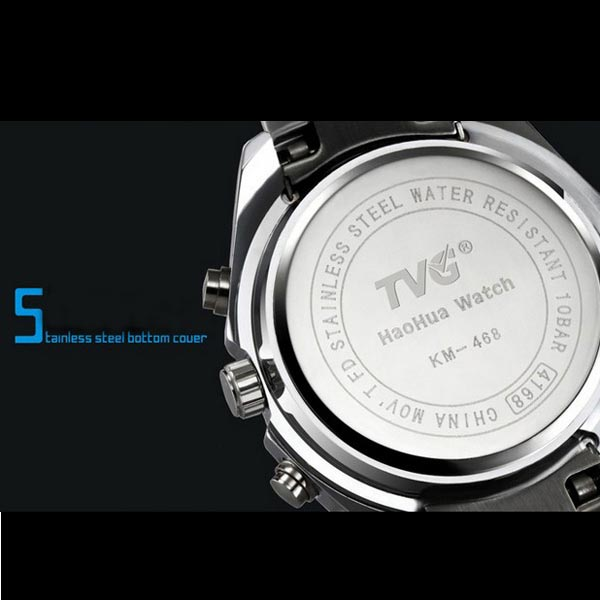 TVG 468 Men 3 Dial LED Display Analog-Digital Military Wrist Watch