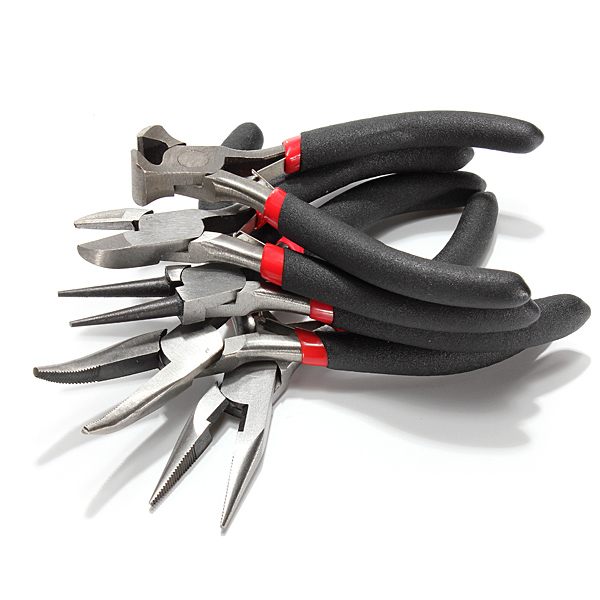 5pcs Cutting Long Round Bent Nose Making Jewelry Pliers