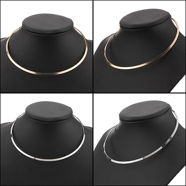 Vintage Thin Mirrored Shiny Metal Choker Necklace Silver Gold Plated