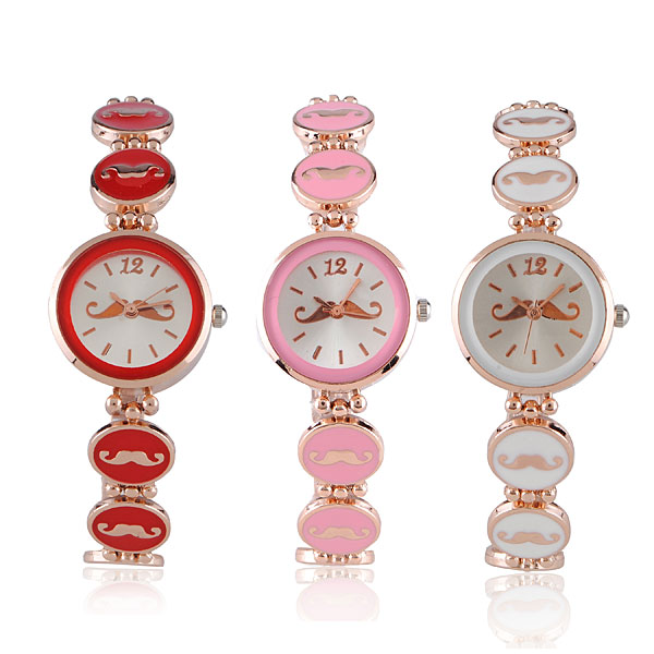 Fashion Mustache Bracelet Rose Gold Women Quartz Wrist Watch