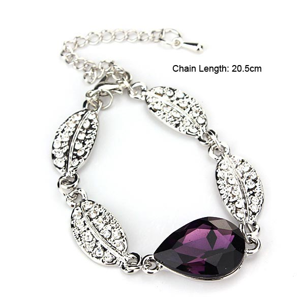 Teardrop Crystal Necklace Earrings Bracelet Jewelry Set Purple 3pcs