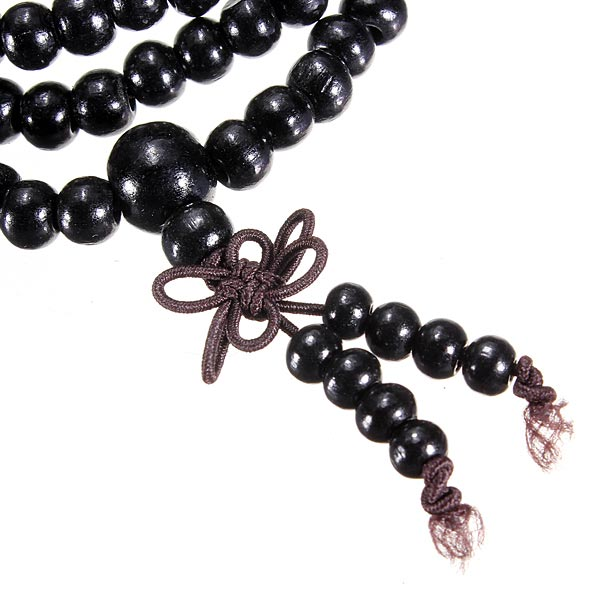 108 Black Ebony Sandalwood Bead Buddhist Prayer Bead Necklace Bracelet