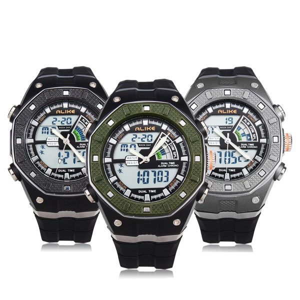 ALIKE AK9140 Sport LED Waterproof Multifunction Rubber Men Wrist Watch