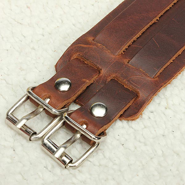 Men Punk Leather Bracelet Wristband Cuff Bangle 2 Layer