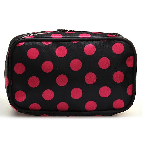 Travel Dot Zip Womens Toiletry Bag Cosmetic Makeup Wash Organizer Case
