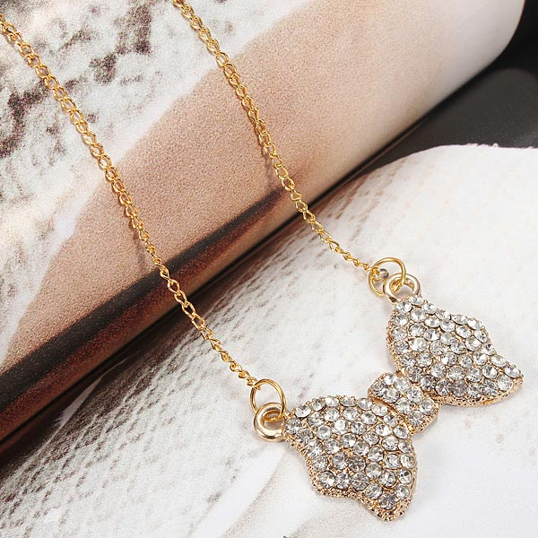 Rhinestone Bowknot Pendant Long Chain Necklace Gold Plated