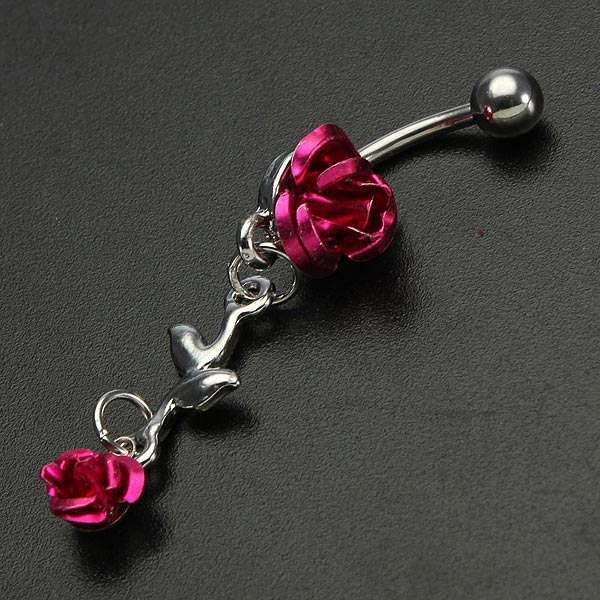 Rose Red Flower Stainless Steel Navel Belly Button Ring Body Piercing