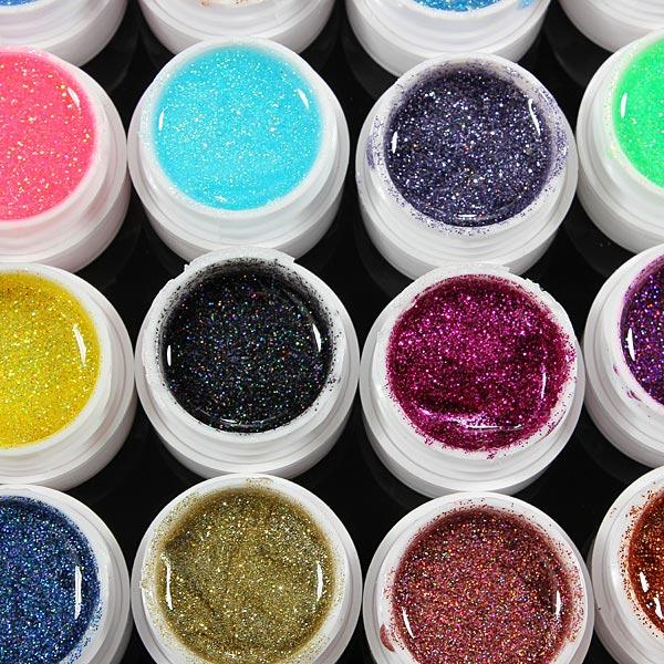 36 Pots Glitter Powder UV Builder Gel Nail Art Decoration Set