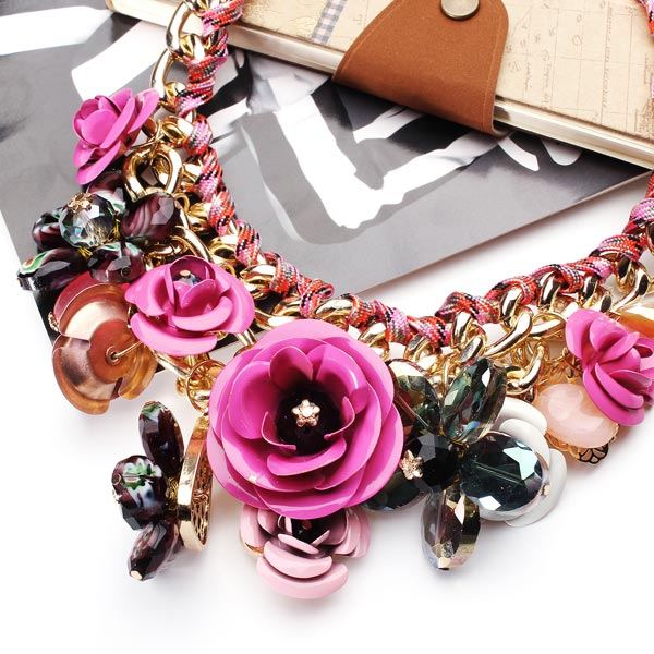 Luxury Resin Beads Metal Flower Statement Choker Necklace Multicolor