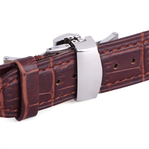AOTU Genuine Leather Watch Band Brown Butterfly Clasp With Band Link Pin Remover Repair Tool