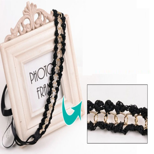 Gold Silver Snake Chain Tie Black Hair Hoops Hairbands Accessories