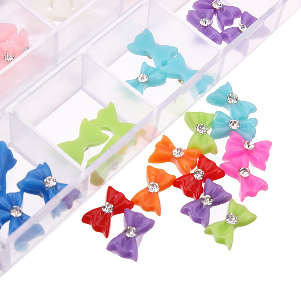 60Pcs 3D Bowtie Acrylic Rhinestone Butterfly Nail Art Stickers