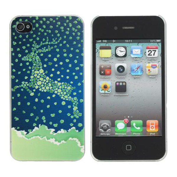 Christmas Elaphurus Davidianus Design Plastic Hard Case For iPhone 4S