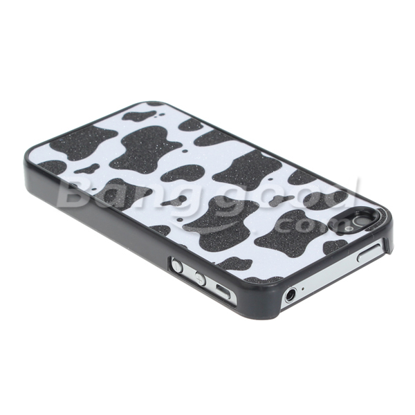 Frosted Cartoon Black White Cow Spot Hard Case For iPhone 4 4S