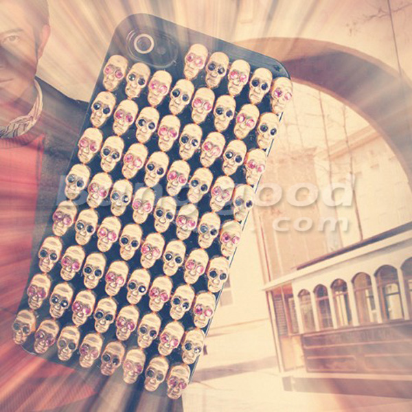 Punk Style Skull Head Inset Diamond In The Eyes Case For iPhone 4 4S