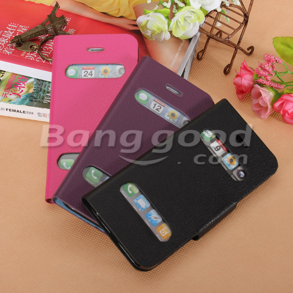 Caller ID Front View Leather Magnetic Stand Holder Case For iPhone 5