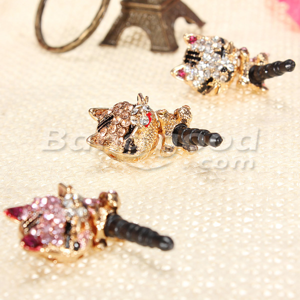 Lovely Crystal Rhinestone Cat Anti Dust Earphone Plug For Cell Phone