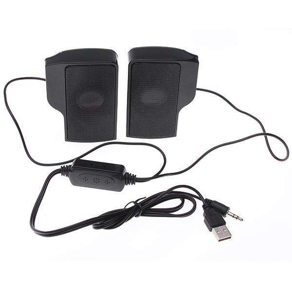 One Pair Clip-on USB Speaker With Controller For Macbook Laptop PC