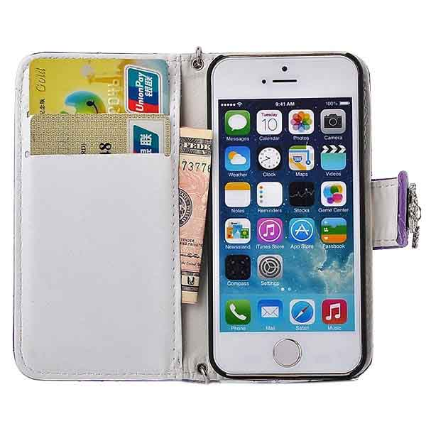 PU Leather Rose Grain Pattern Handbag Case Cover For iPhone 5 5S
