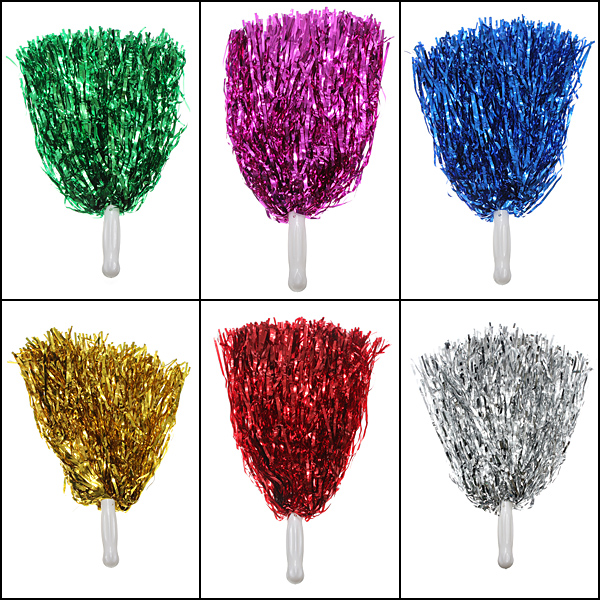 Metallic Cheerleader Poms Dance Party Welcome Costume Streamer