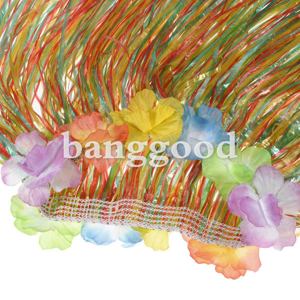 Hawaiian Tropical Stretch Hula Grass Skirt Halloween Costume