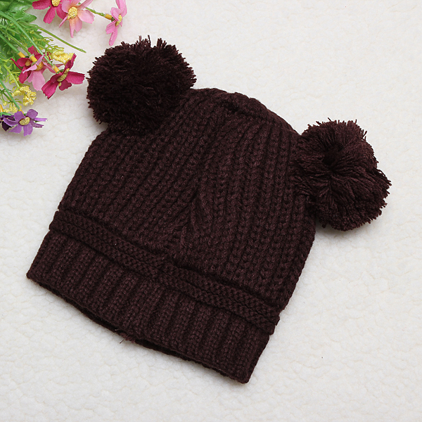 Baby Toddler Hat Solid Color Ear Cap Children Knitted Hats Two Balls