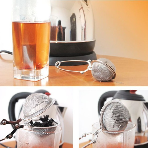 Stainless Steel Herb Tea Strainer Spring Mesh Ball Enclosure