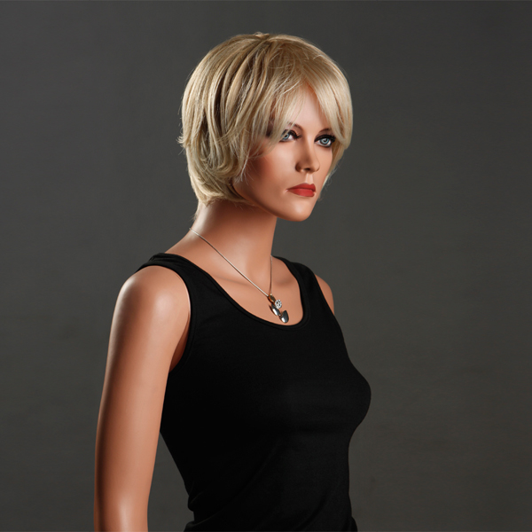 New Fashion Style Side Bangs Cool Short Curly Women Wig