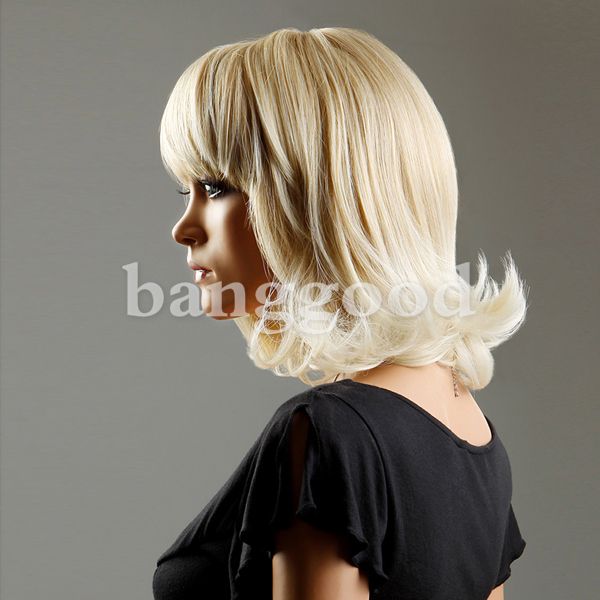 New Fashion Style Neat Bangs Gold Mid Long Curly women Wig Pear Head