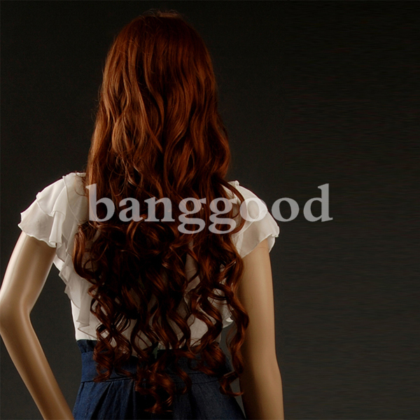 Fashion Kanekalon Side Swept Bangs Long Wave Hair Wig